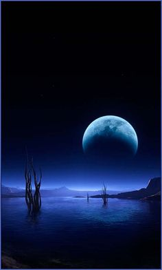 Big Moon Over The Lake #Amazing #photography
