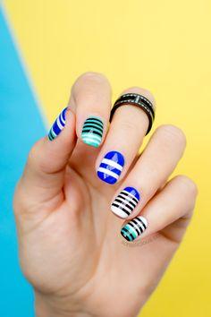 Cool stripes nail art. All details: http://sonailicious.com/mbfwa-nails-2-alexander-wang-nail-art/