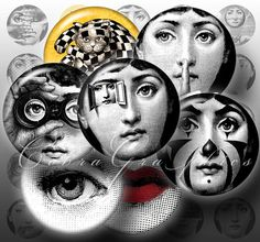 Fornasetti  1 inch Circles Downloadable Collage by CobraGraphics, $3.20