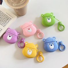 Cartoon Cute Rainbow Bear 3 D Headphone Protective Shell for Airpods 2 Case for Apple Bluetooth Headset Cover Protect the Box Cute Ipod Cases, Iphone Cases, Cute Headphones, Earphone Case, Ring Stand, Air Pods, Airpod Case, Care Bears, Skin Case