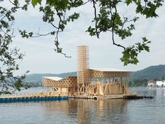 Image 1 of 36 from gallery of Pavilion of Reflections / Studio Tom Emerson. Courtesy of Studio Tom Emerson Architecture Design, Floating Architecture, Water Architecture, Temporary Architecture, Tom Emerson, Roof Cladding, Temporary Structures, Timber Structure, Design Studio