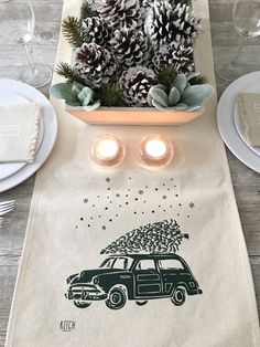 Create a meaningful and beautiful tablescape this Christmas with this lovely table runner! This natural cotton canvas table runner features our Christmas woody design in rich Evergreen & is the perfect blend of clean, rustic, and modern all in one piece! The specs: 100% natural Cotton Canvas Print measures approx. 8 wide CHOOSE YOUR SIZE: Approx. 96 -OR- 72 -OR- 58 long x 14 wide Hand washing recommended, allow for shrinkage of 100% natural cotton. {{{ Pictured with our matching napkins…