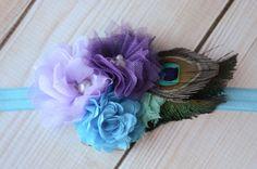 Peacock Flower Headband Flower Headband by LilCutieBugBoutique