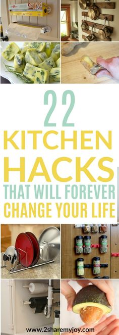 22 Kitchen Hacks that will forever change your life. Check out the list and save time and money in the kitchen using these hacks. Small Kitchen Organization, Kitchen Hacks, Diy Kitchen, Kitchen Gadgets, Kitchen Ideas, Kitchen Board, Kitchen Cleaning, Awesome Kitchen, Diy Organization