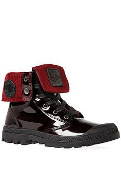Palladium Boot Baggy Leather Knit Boot in Midnight Red - Karmaloop.com