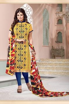 THANKAR YELLOW & BLUE EMBROIDERED COTTON UNSTITCHED STRAIGHT SUIT  #salwarkameez #dress #yellow #wedding #shopping #online #salwarsuits #buydressonline #wholesale #offers #discounts #shopping #ayeshatakai