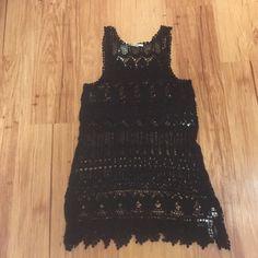 Brand new black crochet dress Brand new black crochet dress never worn Dresses