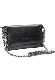 Genuine leather medium clutch bag Removable shoulderstrap of maximum 19-1/4 inch length   Snap closure with zipper top   1 interior side zipper 6 inch long pocket  Metal Accents   Made of genuine leather