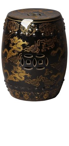 Garden Stools, Side Tables, Chinese Black & Gold Dragon Stool, so beautiful, one of over 3,000 limited production interior design inspirations inc, furniture, lighting, mirrors, tabletop accents and gift ideas to enjoy repin and share at InStyle Decor Beverly Hills Hollywood Luxury Home Decor enjoy & happy pinning