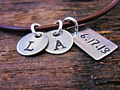 Initial Leather necklace Gift for him by OrganicRustCreation, $33.00