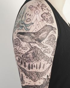 """Top of one-sitting sleeve! Humpback whale and floating mountain island. ✨☁️ View the whole thing at @tenderfootstudio ! Thanks Breezy!"""