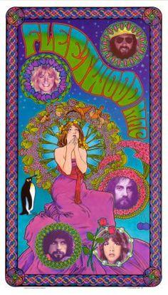 ☯☮ॐ American Hippie ~ Psychedelic Classic Rock Music Poster. . Fleetwood Mac, Bob Masse