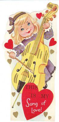 Vintage Valentine Card Girl Plays Cello Unused Music Die-Cut for Children
