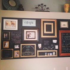 Brittany Cutright, the creator, said she knew she couldn't get on board with the gallery wall trend, due to her desire to rework and rearrange décor. As a result, she created this magnetic chalkboard gallery wall. According to Brittany, all frames have magnets on them so they can be rearranged or rotated out freely. With the ability of DIY magnetic chalkboard paint, you could integrate this concept into any room of the house seamlessly by utilizing the room's current paint color.