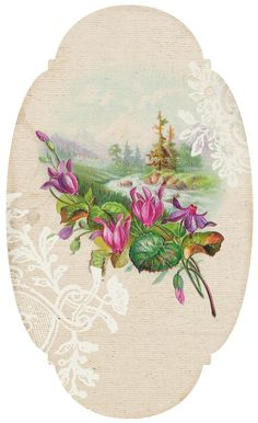 Beautiful floral label - would also make a great card topper.