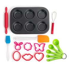 16 Piece Baking Set the Perfect Next Step From the Easy Bake Oven Kid Safe Cooking Tools for Cupcakes Muffins Pastries and Cookies ** Read more reviews of the product by visiting the link on the image.