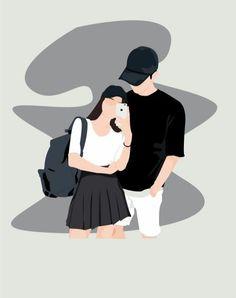 Cute Couple Drawings, Cute Couple Cartoon, Cute Couple Art, Cute Love Cartoons, Girl Cartoon, Cute Drawings, Art Anime, Anime Art Girl, Paar Illustration
