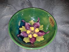 "Moorcroft Columbine Bowl -**PRICE REDUCED**- Signed & Stamped Bottom - Still Has Original Sticker - 3.75"" Wide - Vintage by StepBackAntiques on Etsy"