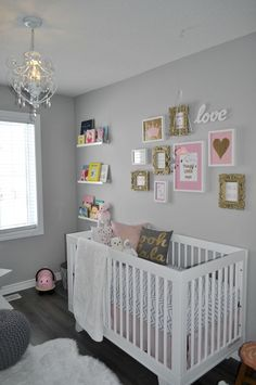 Pretty Pink, Gold, and Grey Nursery ~ Designed by Ashley Thorne