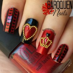 """baroquennails: """"Alice In Wonderland Nail Art - The Queen Of Hearts  Colors used: • Ulta – Metallic Red • Kleancolor – Black Image Plate: • MoYou Tourist Collection 07 Shop 