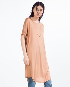 Image 2 of LONG FLOWING T-SHIRT from Zara