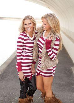 Joyful Striped Tunic or Dress Dark Burgundy