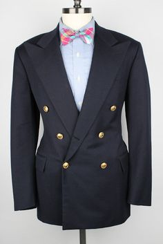 POLO Ralph Lauren Navy w/ Gold Btns Double Breasted 40 R mens Sport Coat Blazer #PoloRalphLauren #DoubleBreasted