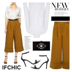 """""""TIBI city cropped wide-leg pleat pants"""" by ifchic ❤ liked on Polyvore featuring Dee Keller, Atea Oceanie and Noir"""