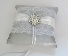 Lace Ring Bearer Pillow for wedding - made from dupioni silk