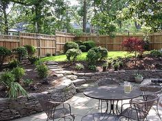 stone steps, johnson landscap, retaining walls, wicker furniture, stone walls