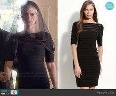 Sara's black striped illusion dress on Pretty Little Liars.  Outfit Details: https://wornontv.net/55421/ #PLL