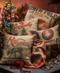 Vintage North Pole Pillow | North Pole Toy Company | Vintage Style Christmas Pillows