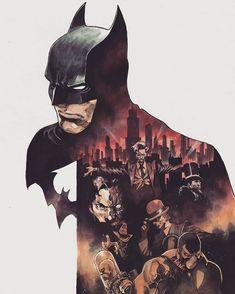 Batman & rogues by Dike Ruan Comic Book Villains, Dc Comics Characters, Comic Books Art, Comic Art, Batman Poster, Batman Artwork, Rogue Comics, Gotham Joker, Gotham City