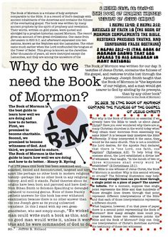Come Follow Me Lesson Handouts - Why Do We Need The Book of Mormon?