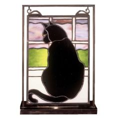 Meyda Tiffany 56834 Cat In Window Lighted Mini Tabletop Window , Novelty Lamps And Accessories Faux Stained Glass, Stained Glass Designs, Stained Glass Panels, Stained Glass Projects, Stained Glass Window Hangings, Cat Light, Tiffany Glass, Mosaic Glass, Fused Glass
