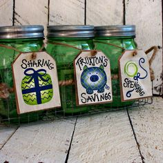 Piggy Bank for Boys Rustic Mason Jar Bank Tags by CountryTags