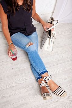 my outfit: black & jeans in the summer? plus, espadrilles (we need to talk about these ladies)!