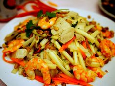 Shrimp, bamboo and pig's ear salad, during Tet celebrations in Vietnam.