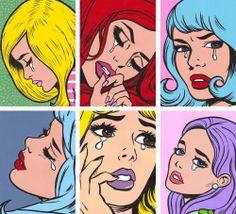 art red girls sad cartoon blonde blue purple crying etsy comics pastel pastel hair pop art artists on tumblr turddemon comic girl comic girls