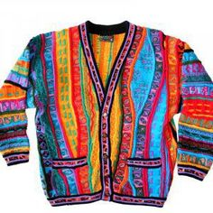 Vintage 80s Coogi Textured Wool Cosby Style Tacky Ugly Sweater/Cardigan Women's Size Medium (M)