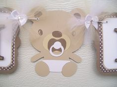 Gender neutral teddy bear banner brown and by NancysBannerBoutique,