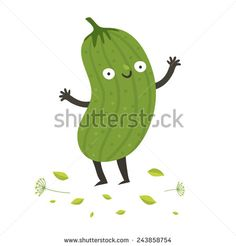 Cute funny cartoon cucumber. Smiling pickle character. Vector colorful illustration isolated on white in flat style - stock vector