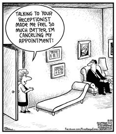 Reception Therapy - by Bill Whitehead Psychology Jokes, Psychology Student, Positive Psychology, Humor English, Chiropractic Humor, Mental Health Humor, Therapy Humor, Cartoon Jokes, Medical Humor