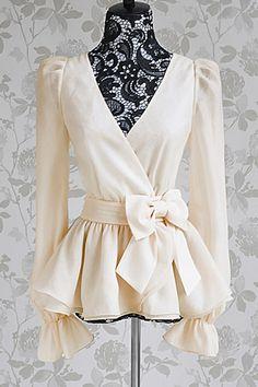 Surplice Flounce Long Sleeve Blouse - OASAP.com
