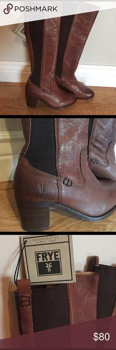 NWT Frye Boots Janis Gore Leather Frye Boots. These are a reposh item! I was hoping I could squeeze my foot into them but they fit a true 6.5 (I float between a 6.5-7). Gorgeous leather on these boots and the heel is the perfect classy height! 😊 Frye Shoes Heeled Boots
