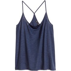 H&M Top in slub jersey ($4.04) ❤ liked on Polyvore featuring tops, shirts, tank tops, tanks, dark blue, h&m tanks, dark blue top, h&m shirts, racer back shirt and h&m tank tops