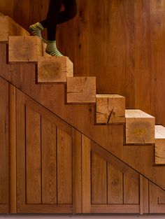 i can see these steps in a very modern setting with smooth white walls.