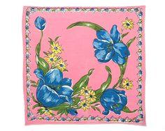 VINTAGE HANKIE Fabulous Large Blue Tulips on Deep Pink from CUSHgoods
