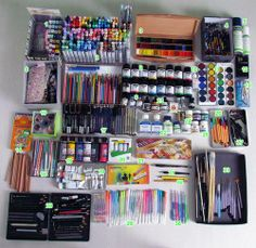 This makes me want to get all artsy., This makes me want to get all artsy. Cute School Supplies, Watercolor Sketch, Copics, Drawing Tools, Drawing Stuff, Room Organization, Stationary Organization, Gel Pens, Art Studios