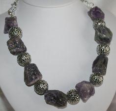 Raw Rough Purple Amethyst Nugget Necklace Tibetan by 123Gemstones